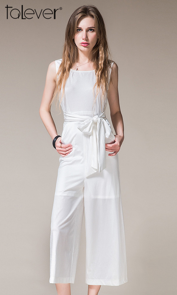 Talever Summer European Elegant Jumpsuit White Bodysuit Sexy O-neck High Waist
