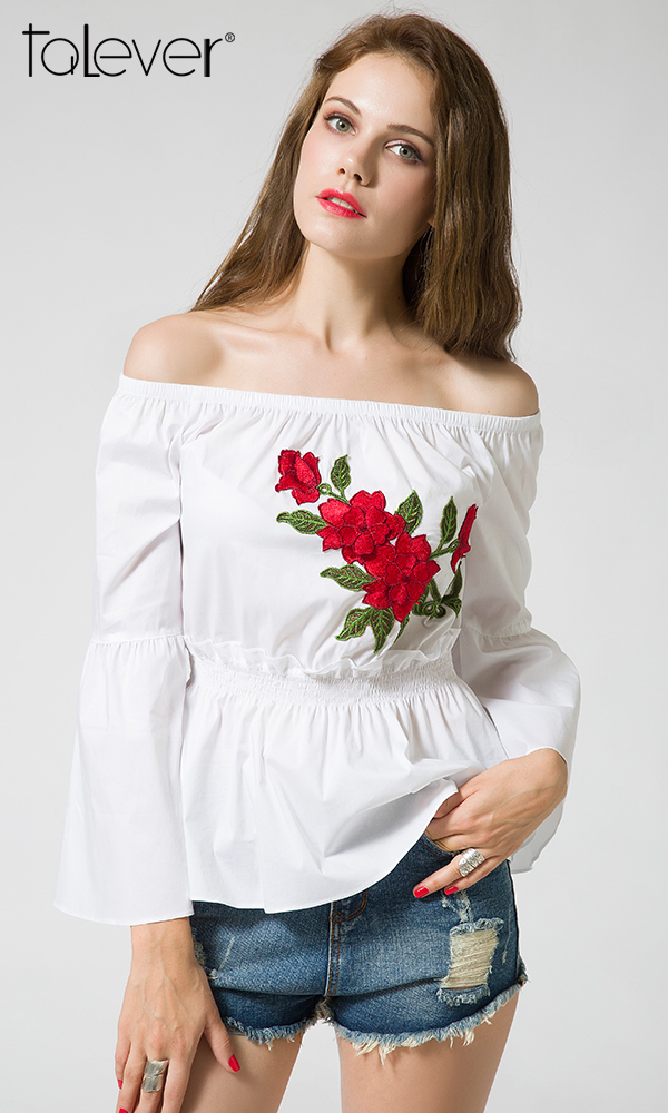 Slash Neck Flower Embroidery Flare Sleeve Tops Talever Women White Shirts