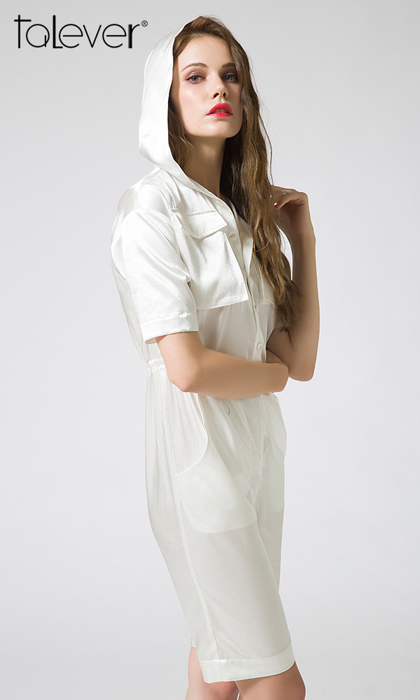 White Hooded Romper Waist Drawstring Summer Women Playsuit V-neck Dual Pockets Short Jumpsuit