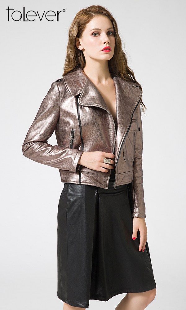 New Autumn Spring Turn-Down Collar Shiny Faux Leather Women Jackets With Zipper