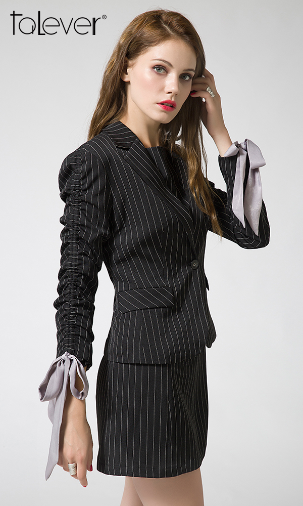 Talever Autumn Winter Women's New Striped Blazers and Jackets Casual Office Suit Slim Blazers Coat