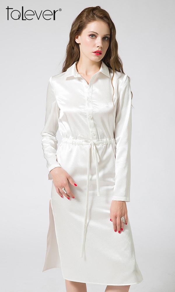 Talever OL Women Shirt Dress Brief Summer Autumn White Sexy Side Split Waist Drawstring Dresses