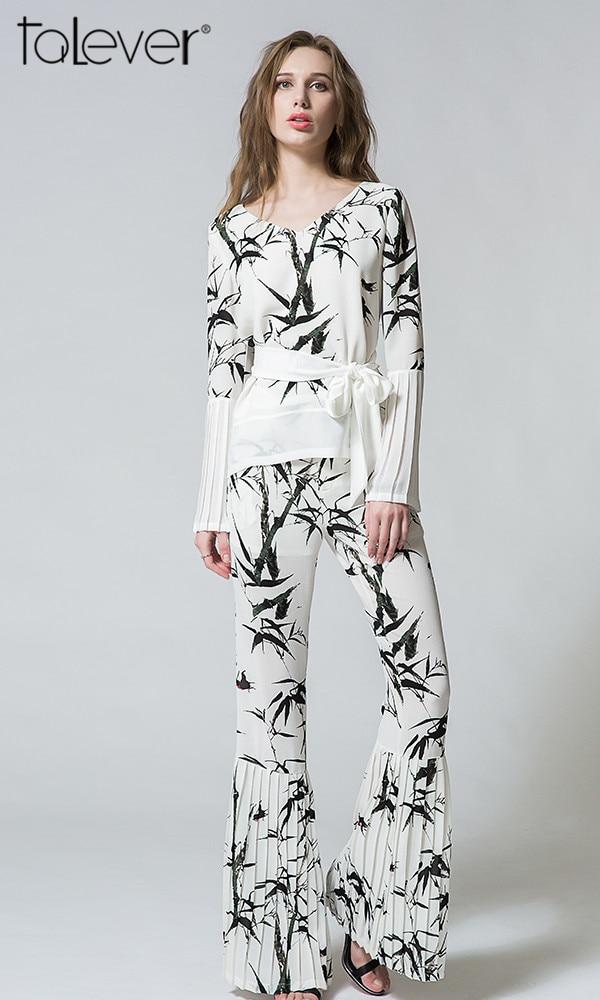 Talever New 2Pcs Women Elegant Sashes Decoration V-neck Shirts Full Length Wide Leg Ink Printing Suit Sets
