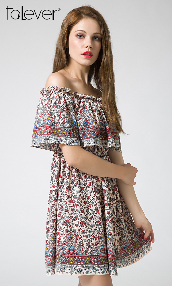 Talever Summer Off Shoulder Vintage Dress Loose Floral Print Pleated Sexy Beach Short Dress