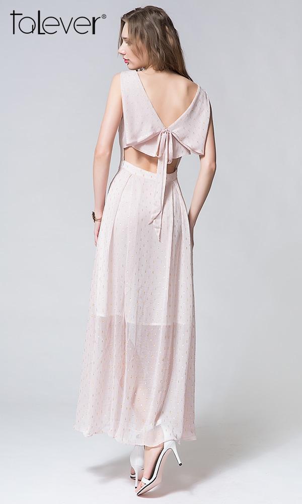 Talever Trendy Maxi Dress Women V-Neck Sleeveless Dress Bare Shoulder Elegant Party Dress