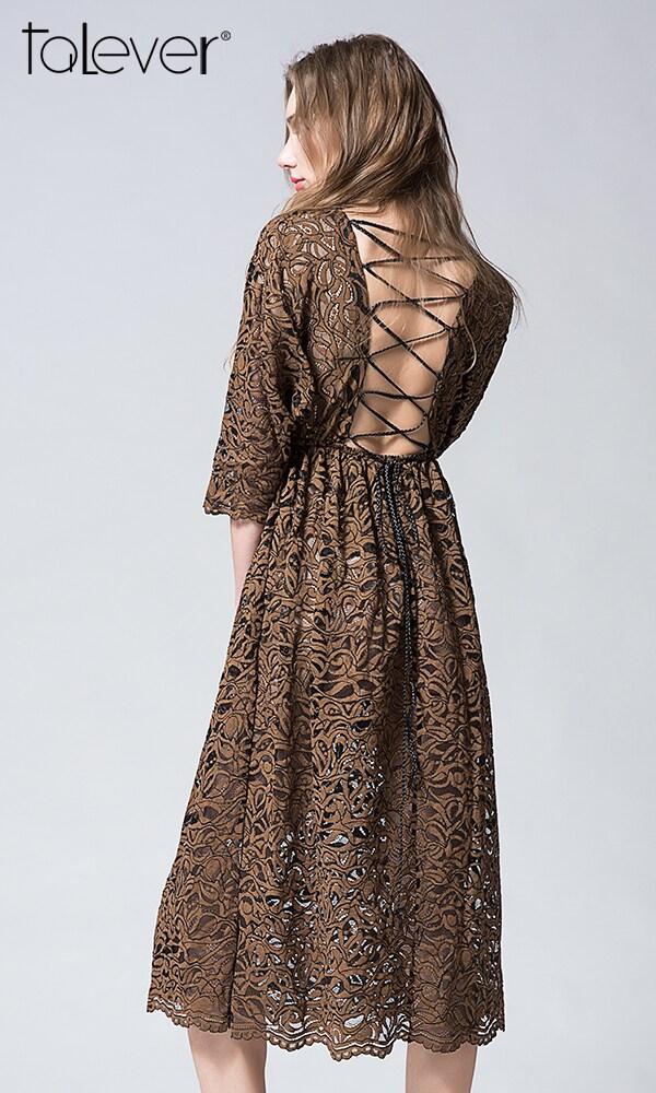 Talever Summer Vintage Hollow Out Dress Women O-Neck Backless Elegant Beach Dress