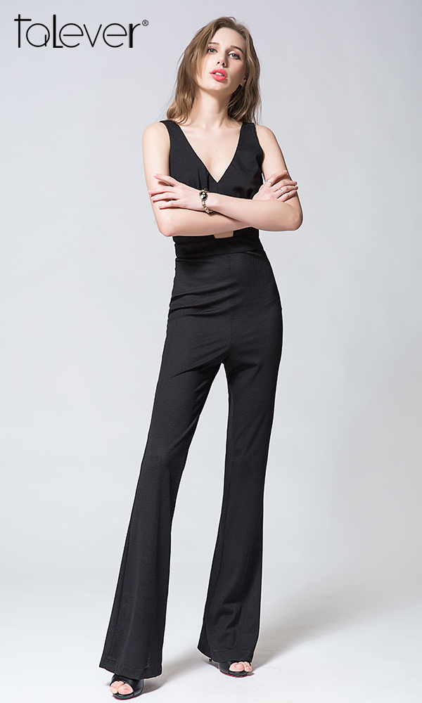 European V-Neck High Waist Hollow Out Long Flared Pant Rompers Overalls Womens Jumpsuit