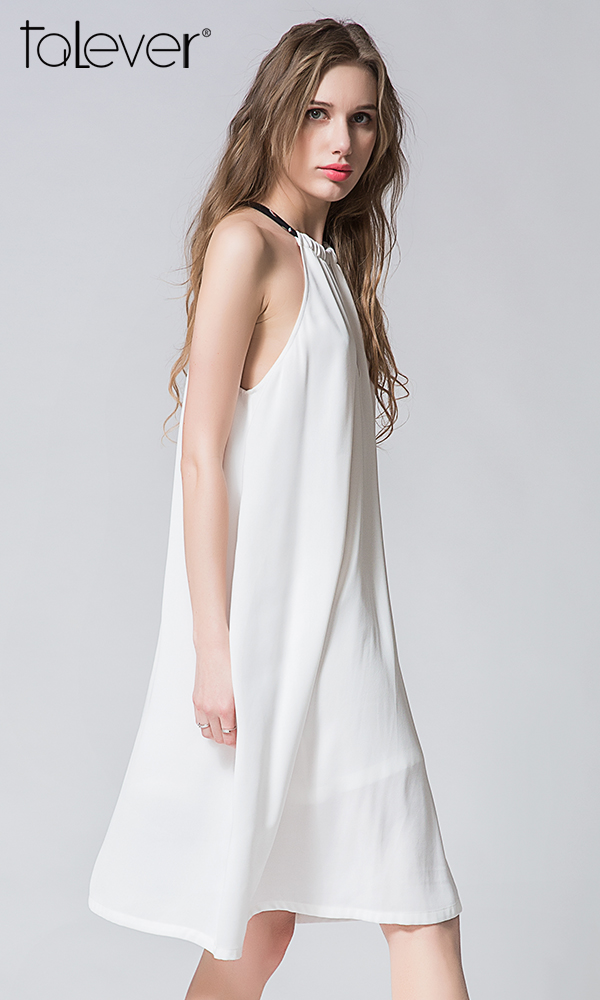 Talever Summer Party Dress Off the Shoulder Choker Halter Strap Chiffon White Beach Dress
