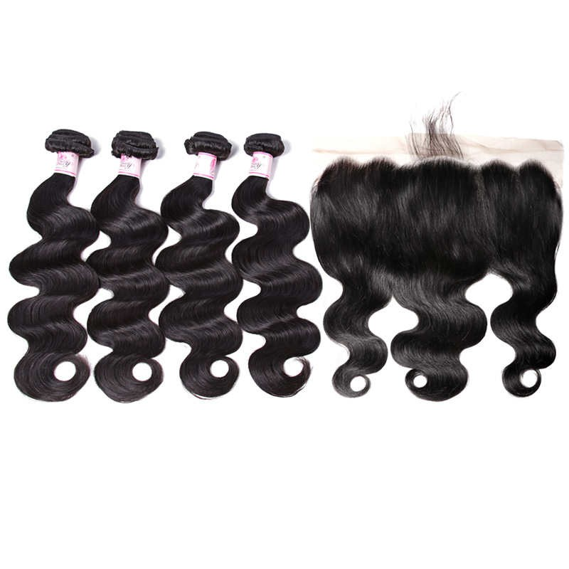 13 By 6 Lace Frontal And 4 Bundles Body Wave Human Hair Sew In