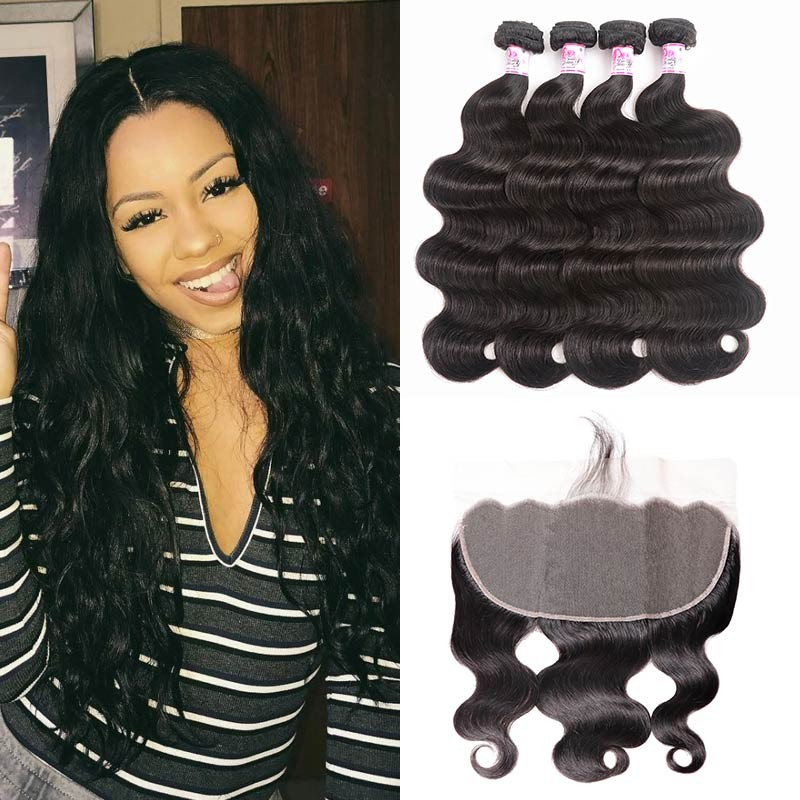 4 bundles body wave and frontal