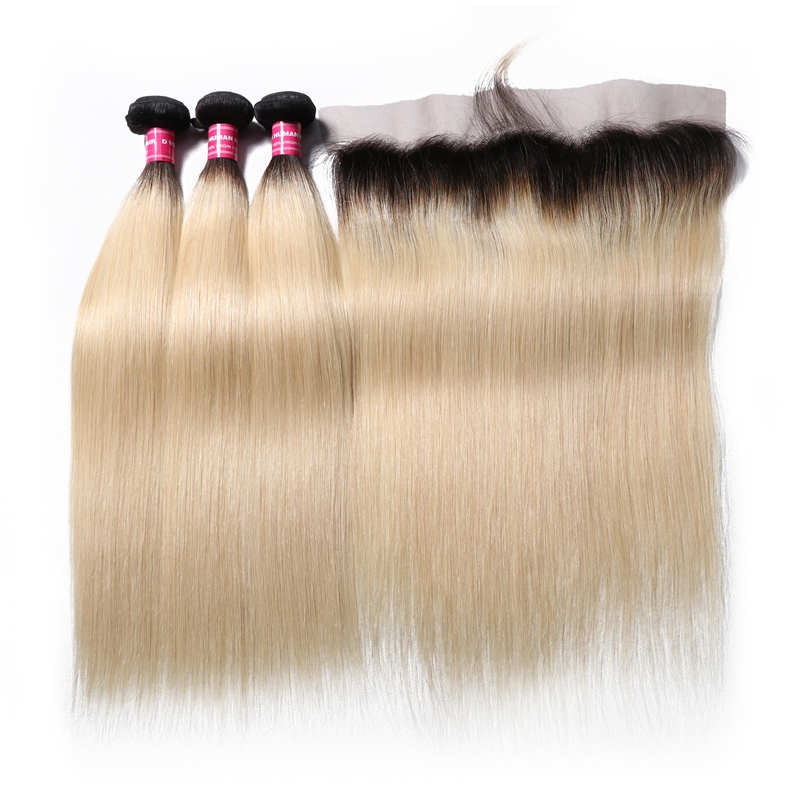 1B/613 Color Straight Natural Hair 4 Bundles With Lace Frontal