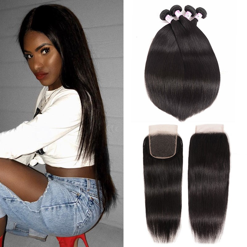 4*4 Lace Closure With 4Bundles Straight