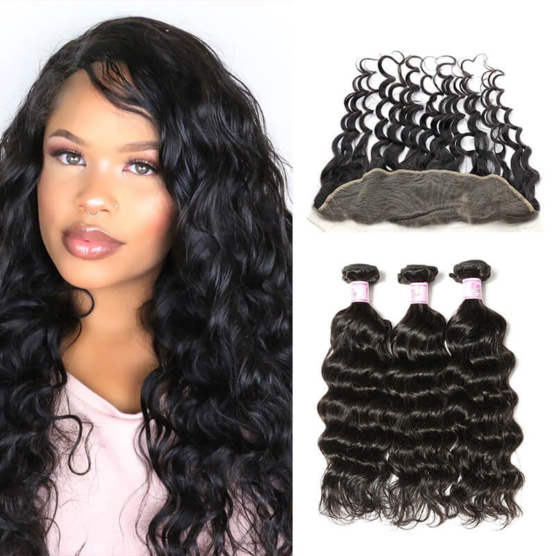 Lace Front With 3Bundles Natural Wave