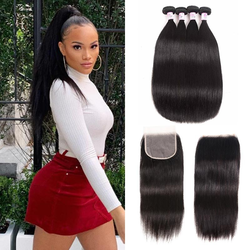 HD Lace Closure With 4 Bundles