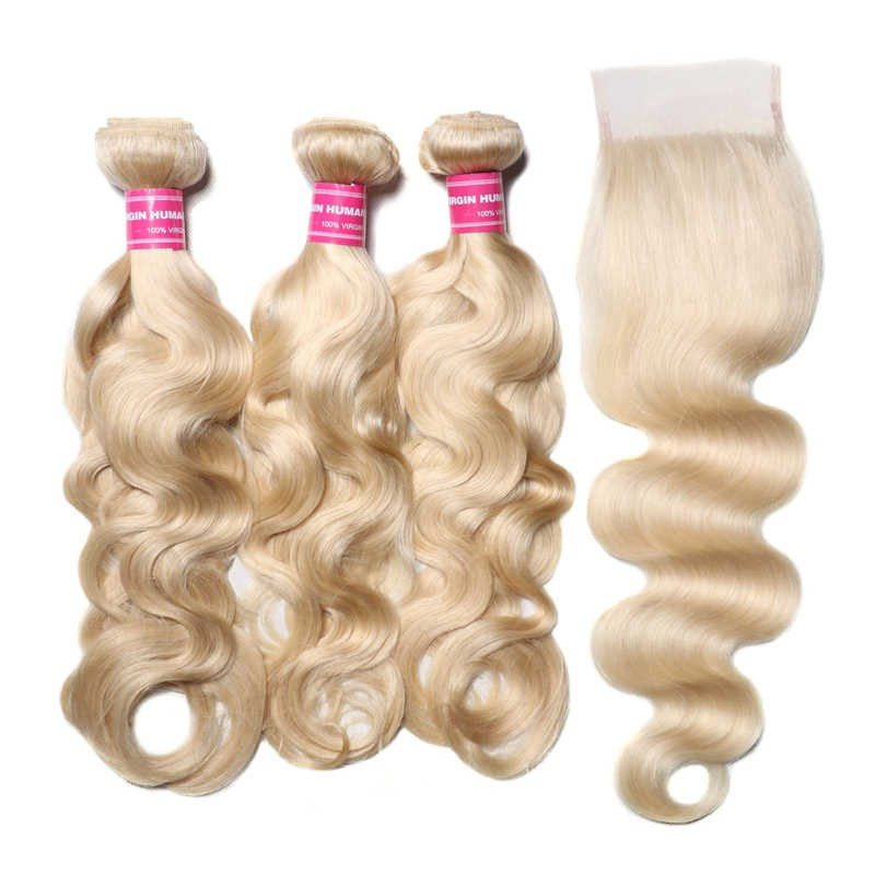 3 Bundles 613 blonde Body Wave With Human Hair Lace Closure