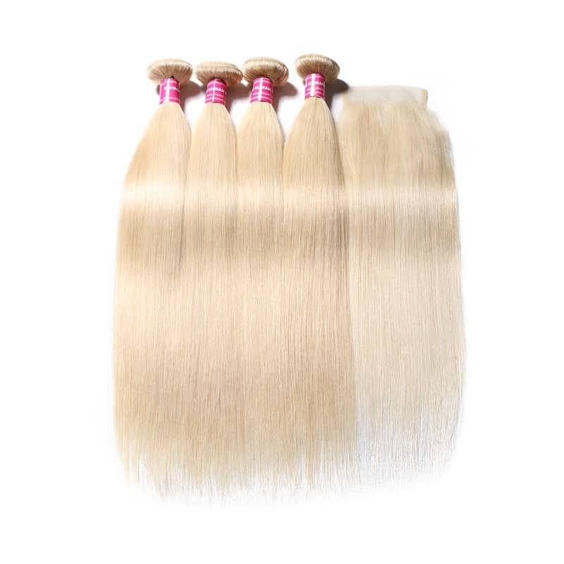 613 Blonde Straight Human Hair 4 Bundles With Lace Closure