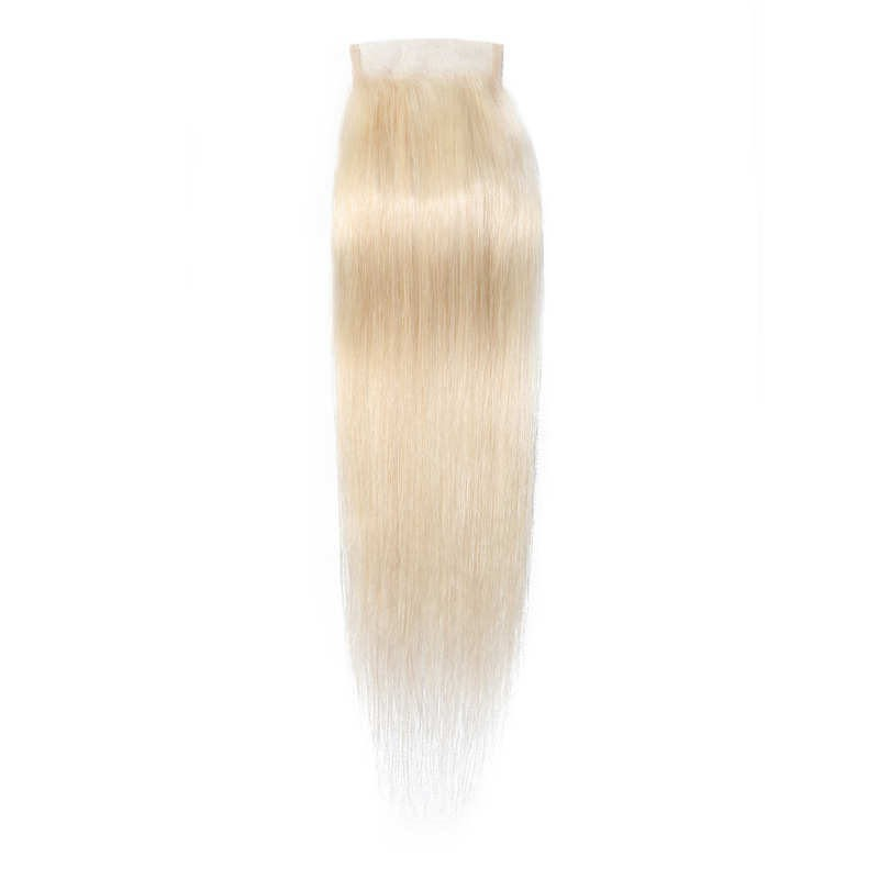 613 blonde 4*4 Lace Closure Piece Long Straight Human Hair Free Part