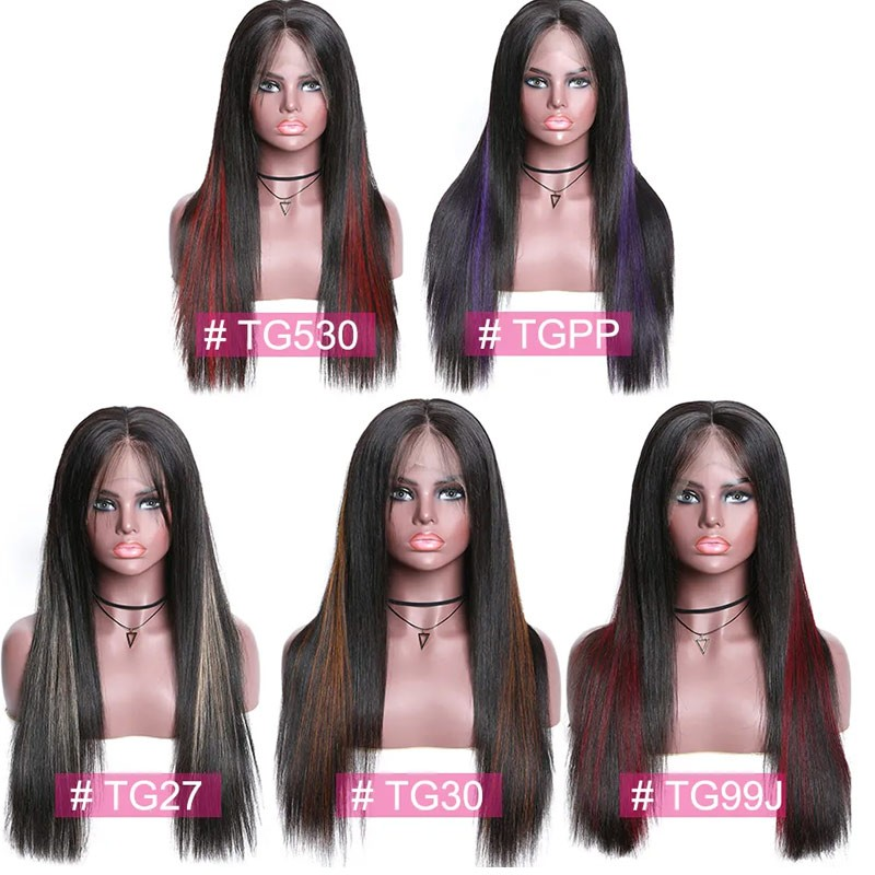 highlights color real hair wig