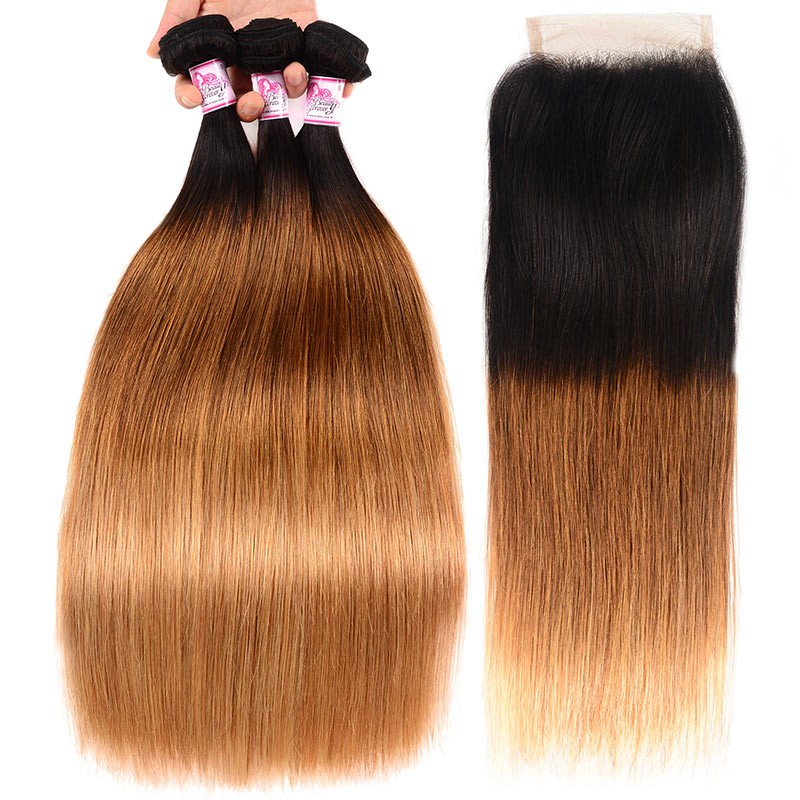 Ombre Hair Color Straight Hair 3Bundles With Closure
