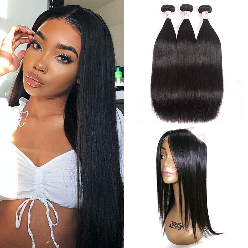 Straight Hair Bundles With 360 Closure