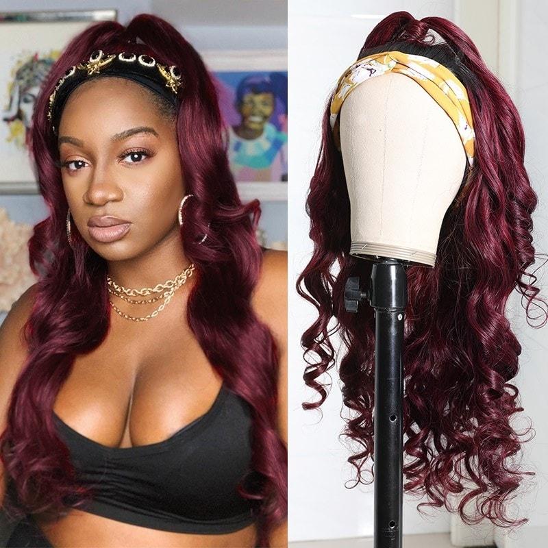 Body Wave Hair Headband Wig Burgundy Color