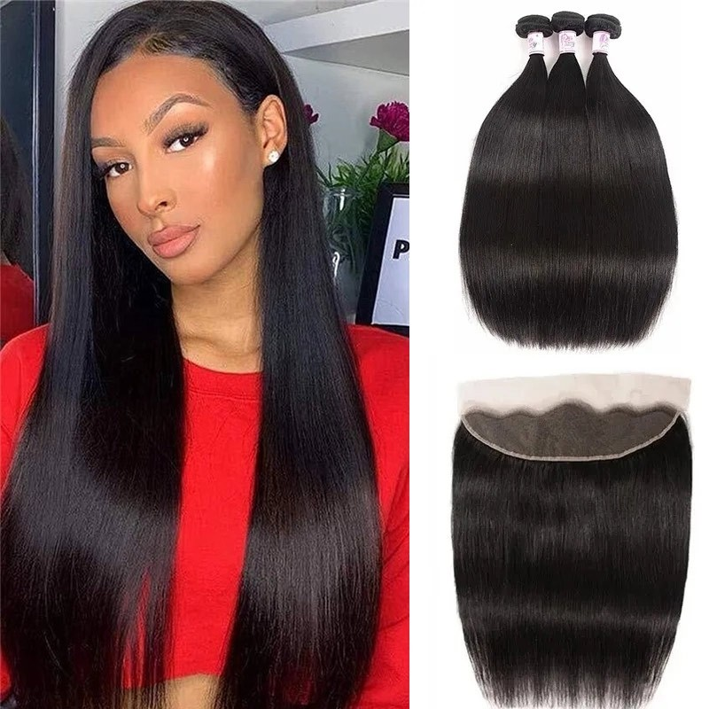 straight Lace Frontal With Human Hair Bundles
