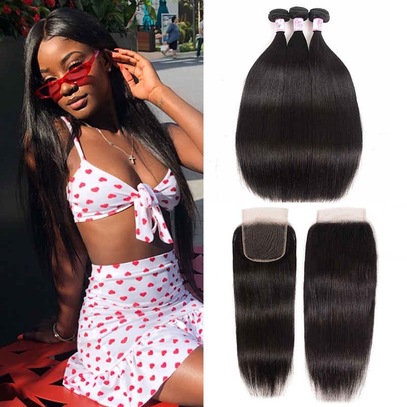 Straight Hair 3Bundles With Lace Closure