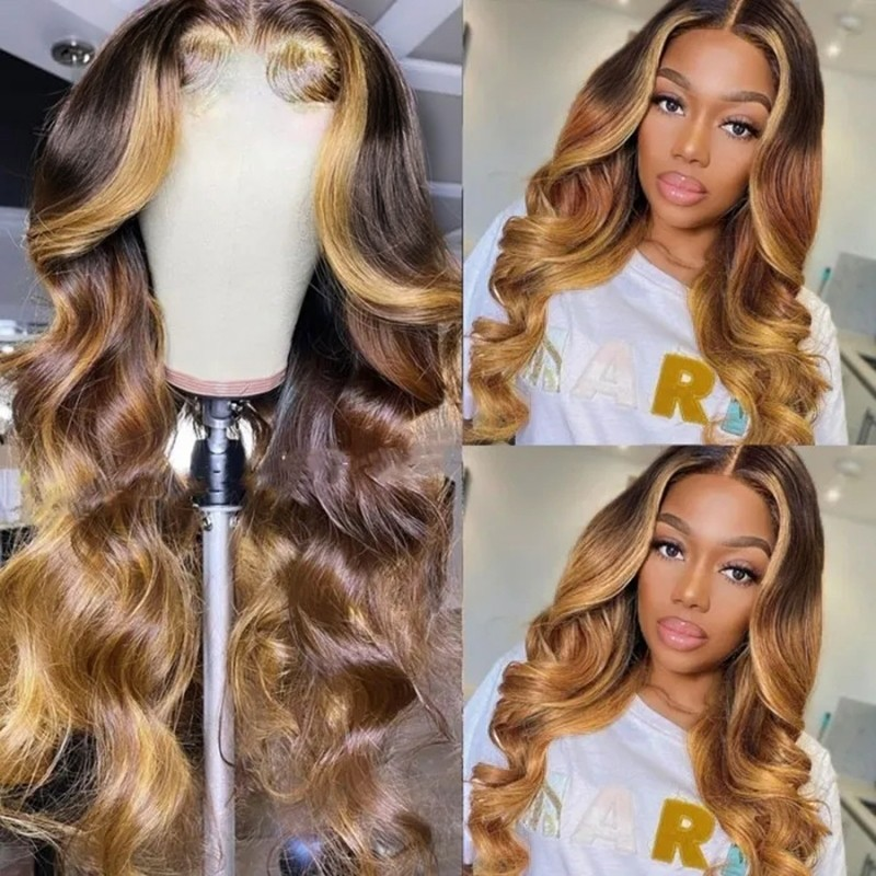 Highlight Colored Wigs T Part Wig