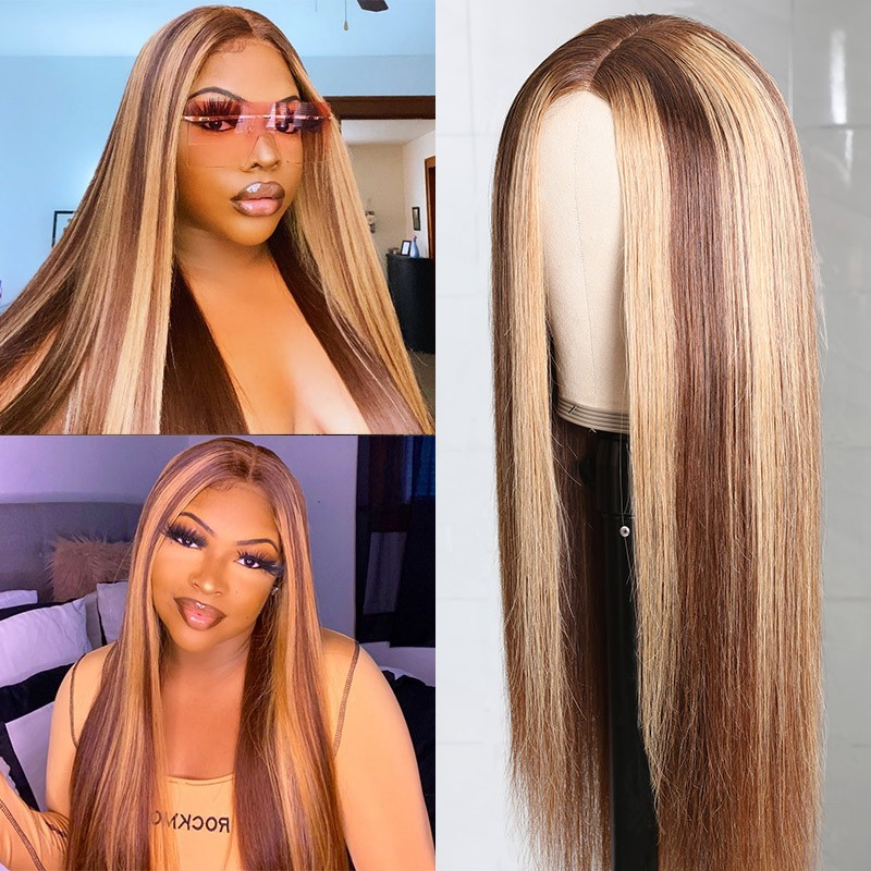 Fake Scalp Blonde Highlight Piano Color Wig