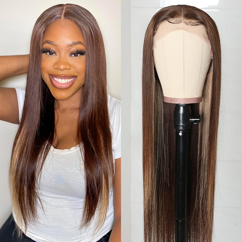 Highlight Color Straight Hair Lace Wigs