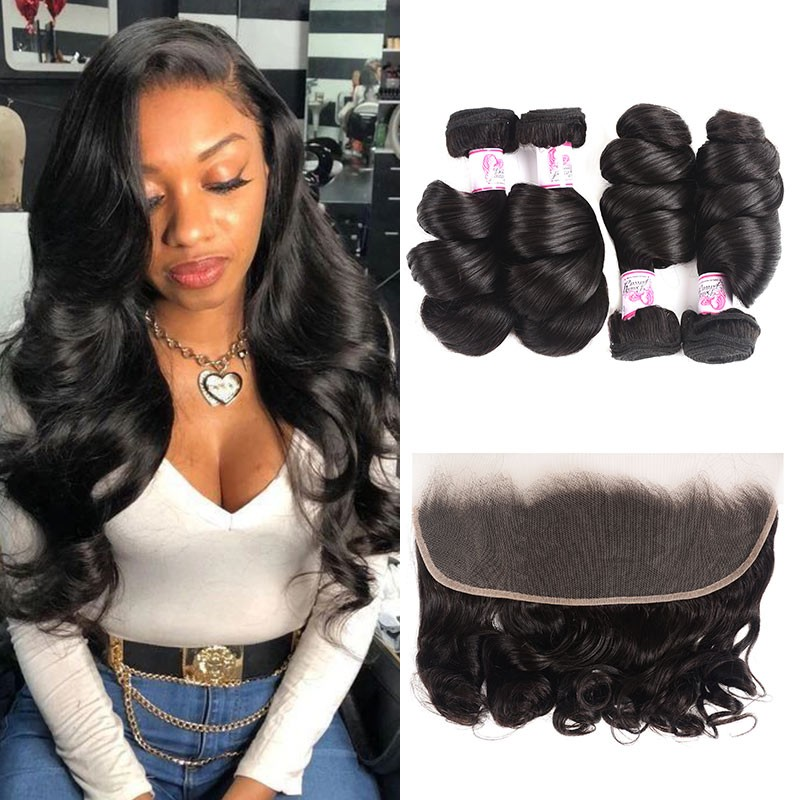 Lace Frontal Closure With 4 Bundles