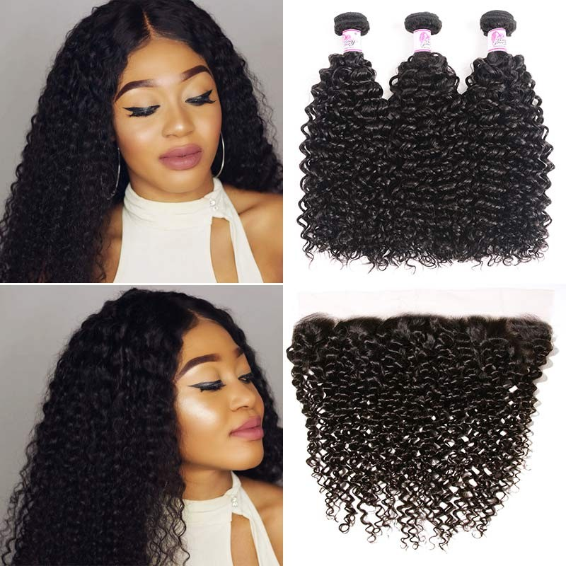 Jerry Curly HD Lace Frontal With 3Bundles