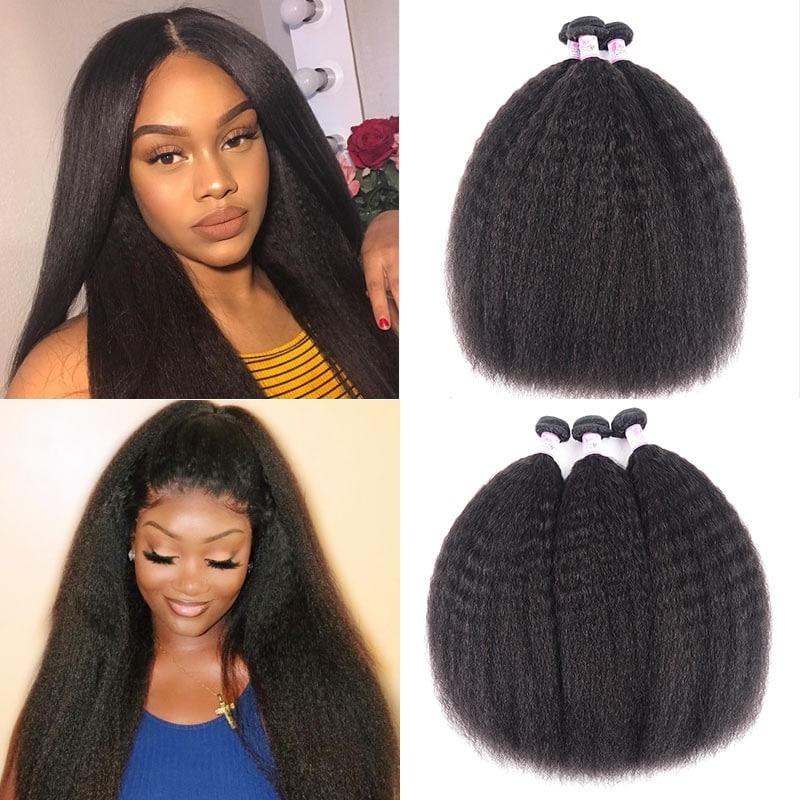 Kinky Straight Hair Weave 3 Bundle Deals