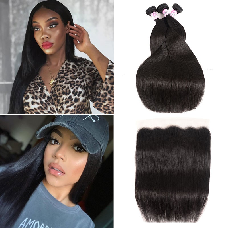 Lace Frontal Closure With 3Bundles Straight Hair
