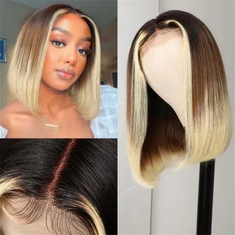 Short Bob T Part Straight Wig