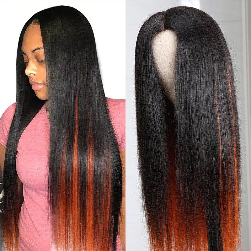 long striaght hair PU Skin Base Wig