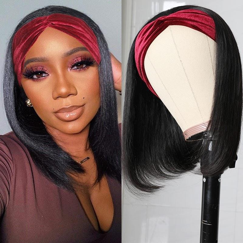 Straight Hair Headband Wig
