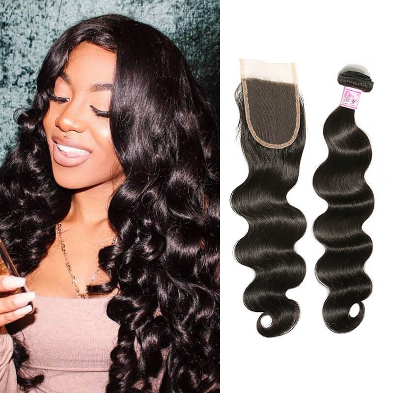 Beautyforever 4bundles Body Wave Peruvian Lace Closure