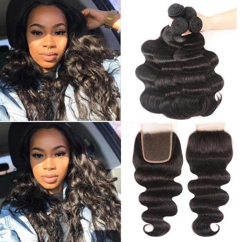 Indian body wave lace closure hair