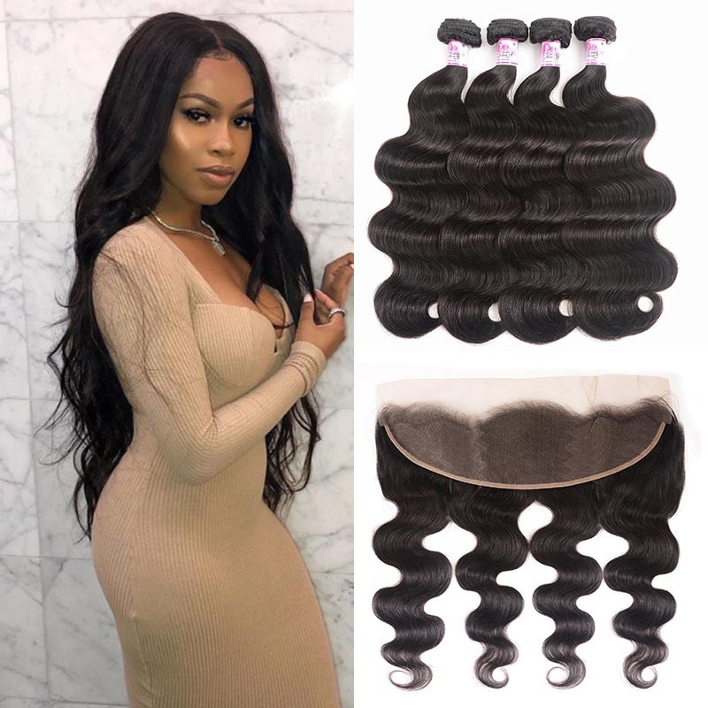 body wave lace frontal and 3 bundle deals