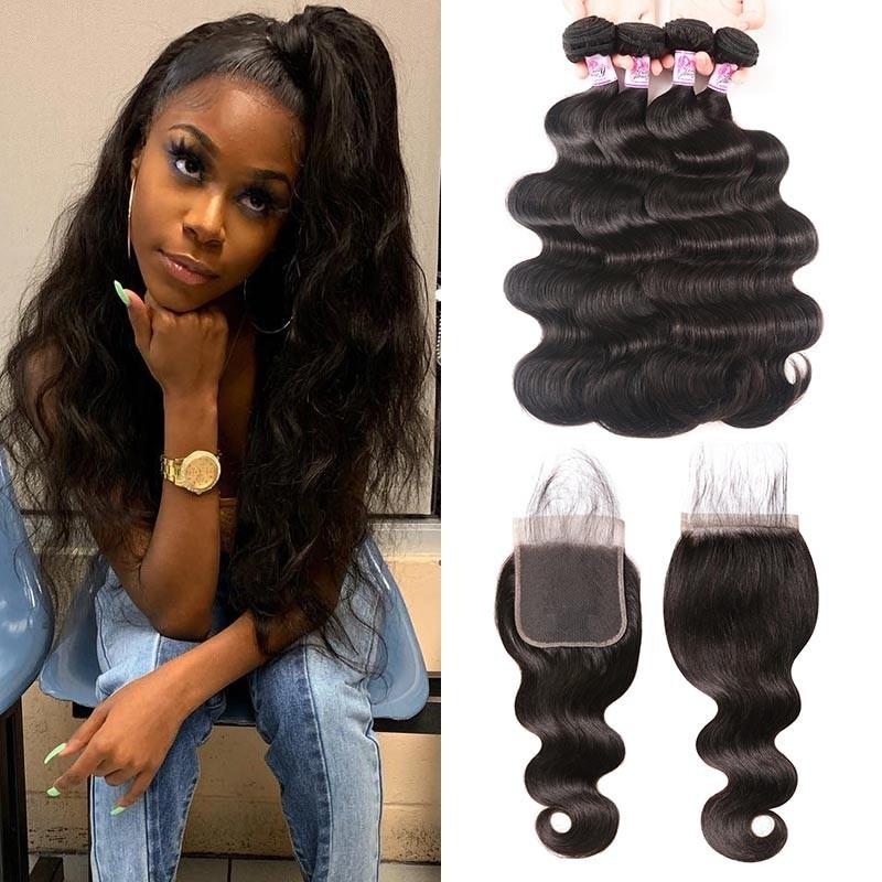 Natural Black Body Wave Human Hair 4 Bundles With Lace Closure
