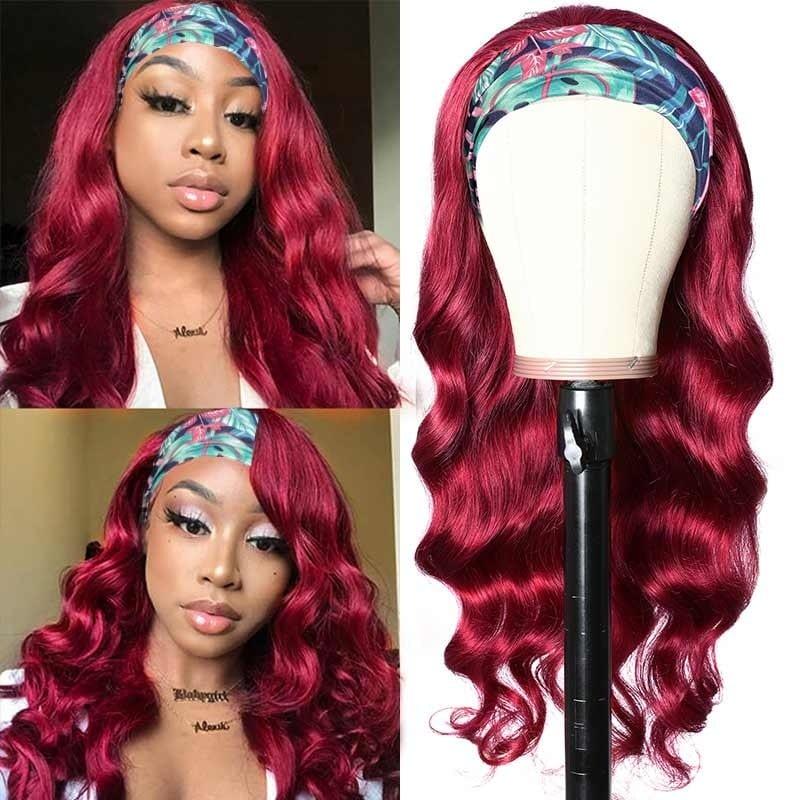 Headband Scarf Wigs Body Wave Human Hair Wig