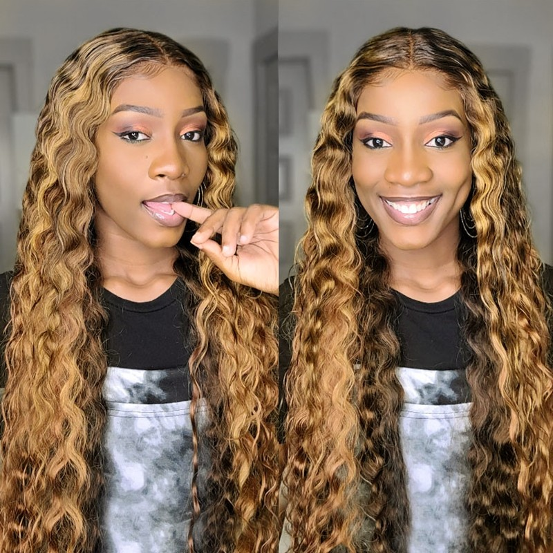 Coolest Brown To Blonde Ombre Deep Wave