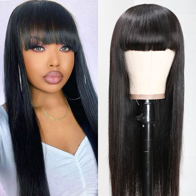 Full Machine Wigs With Bangs