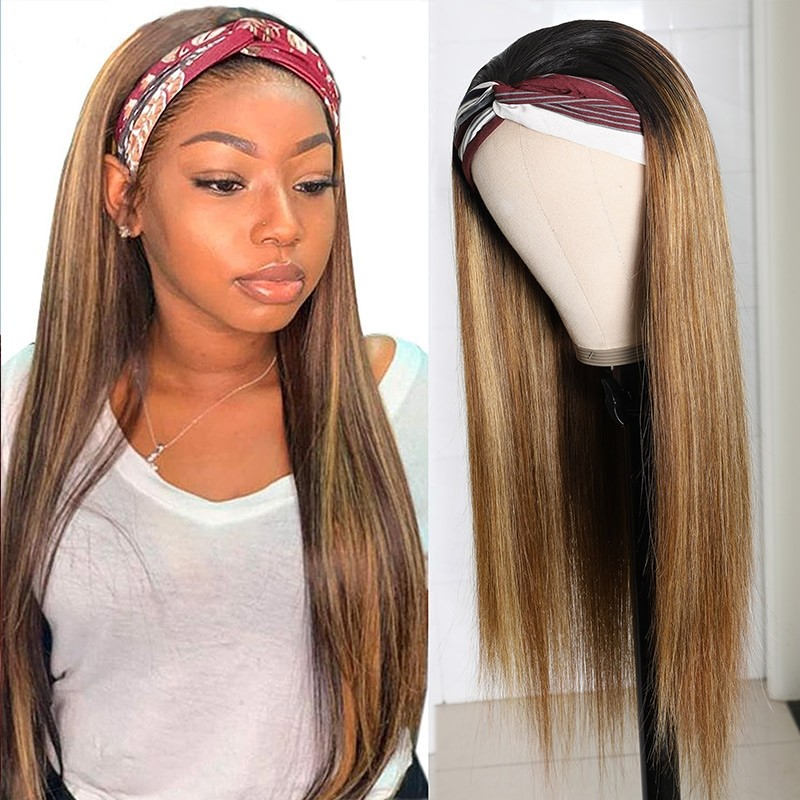 ombre highlight color Headband Wigs Straight Hair