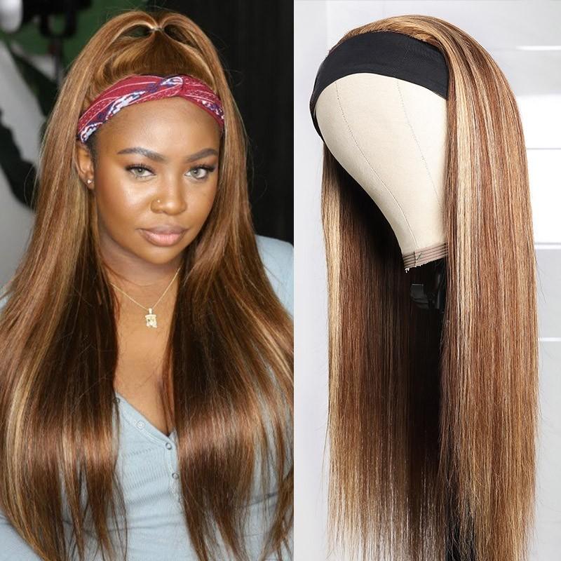 Honey Blond Color Highlight Headband Wig