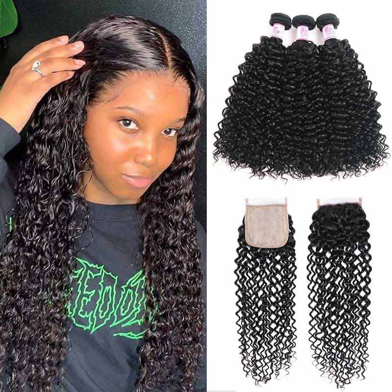 Curly Swe In Bundles With PU Closure