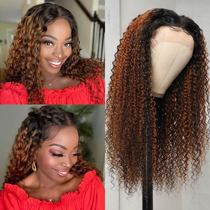 Jerry Curly Highlight Lace Front Wigs