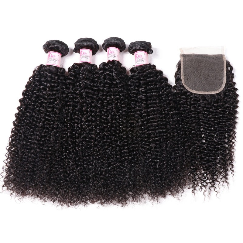 Kinky Curly Hair 4 Bundle Deals With Lace Closure