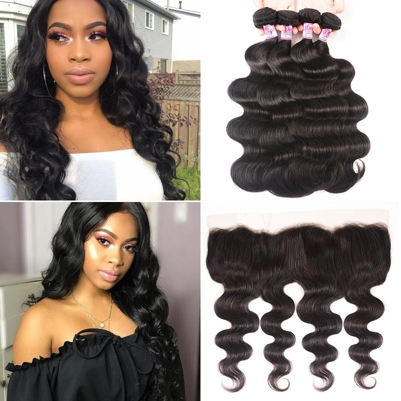 Lace Frontal Closure With 4Bundles Brazilian Body Wave